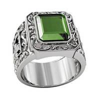 Перстень серебряный Зеленый Шершень