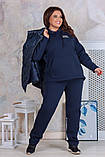 Теплый женский спортивный костюм  с жилеткой Трехнитка на флисе и плащевка на синтепоне Размер 50 52 54 56, фото 6