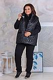 Теплый женский спортивный костюм  с жилеткой Трехнитка на флисе и плащевка на синтепоне Размер 50 52 54 56, фото 8