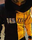 Теплое унисекс худи Sad Smile черно-желтое, фото 2