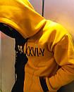 Теплое унисекс худи Sad Smile черно-желтое, фото 4