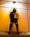 Теплое унисекс худи Sad Smile черно-желтое, фото 5