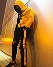 Теплое унисекс худи Sad Smile черно-желтое, фото 7