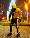 Теплое унисекс худи Sad Smile черно-желтое, фото 8