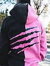 Теплое худи унисекс Пушка Огонь Scratch черно-розовое, фото 3