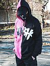 Теплое худи унисекс Пушка Огонь Scratch черно-розовое, фото 6
