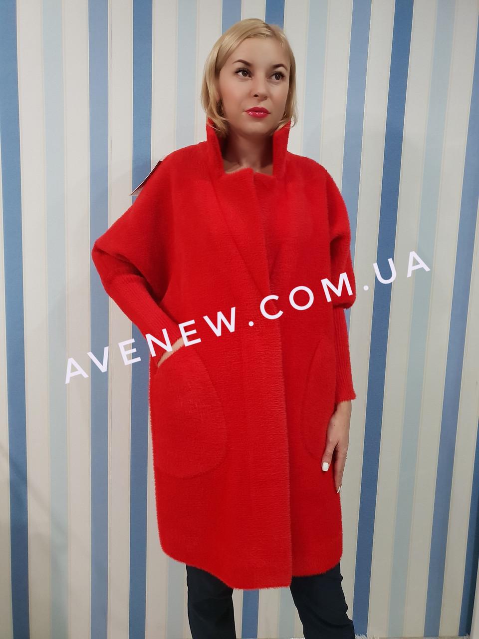 Красное пальто-кардиган из шерсти альпаки
