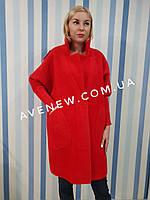Красное пальто-кардиган из шерсти альпаки, фото 1