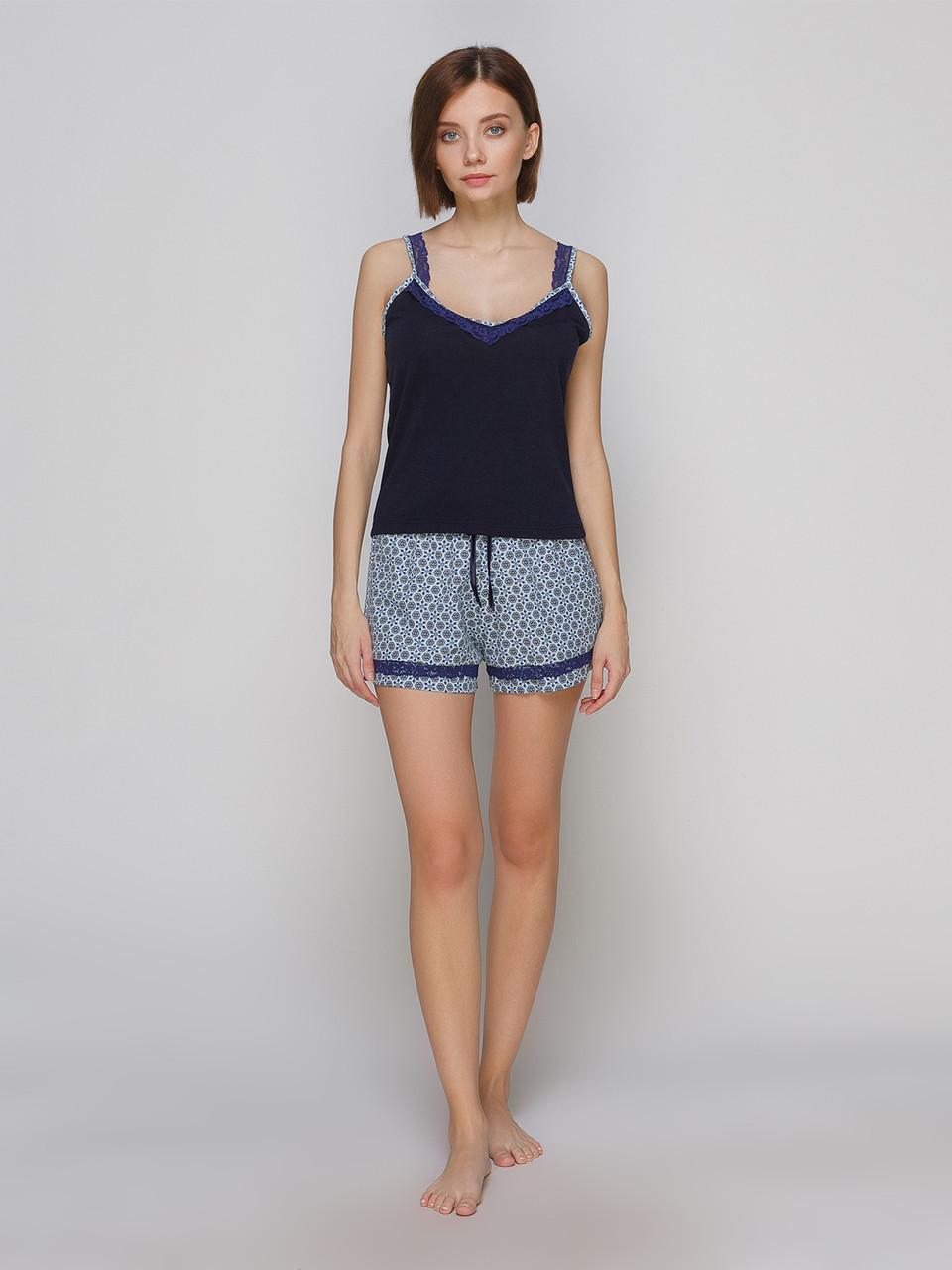 Комплект майка шорты из шелка Армани Serenade синий с нежным кружевом
