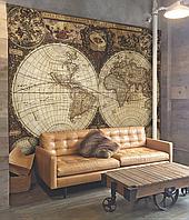 """Древняя карта мира по странам дизайнерская фотообои 3D рельефные """"Каравелла Колумба"""" 200 см х 155 см"""