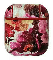 Противоударный чехол - Airpods Apple. Пластик (яркие цветы на молочном фоне)