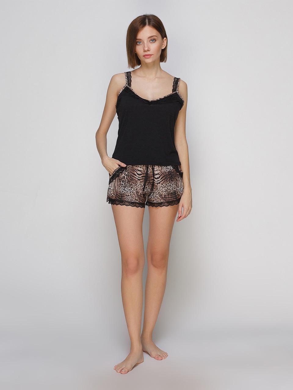 Комплект майка шорты из шелка Армани Serenade леопардовый с нежным кружевом