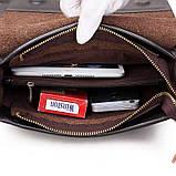 Качественная мужская сумка через плечо Polo Videng, поло. Темно-коричневая. 24x21x7, фото 9
