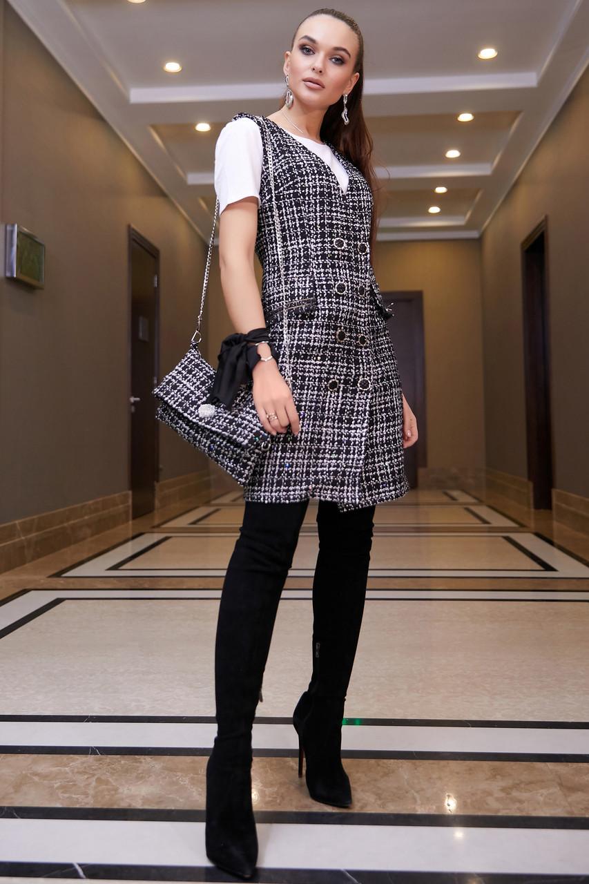 Офисное платье-сарафан женское, размеры от 42 до 48, твид, чёрное в клетку