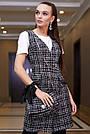 Офисное платье-сарафан женское, размеры от 42 до 48, твид, чёрное в клетку, фото 2