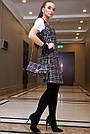 Офисное платье-сарафан женское, размеры от 42 до 48, твид, чёрное в клетку, фото 4