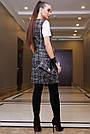 Офисное платье-сарафан женское, размеры от 42 до 48, твид, чёрное в клетку, фото 5