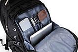 Вместительный рюкзак SwissGear, свисгир. Черный с синим. 35L / 7697 blue, фото 8