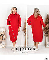 Женское яркое красивое платье батал -красный