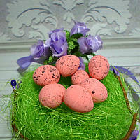 Яйцо перепелиное, 2 х 1,5 см, пенопласт, цвет розовый, 5 шт.