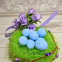 Яйцо перепелиное, 2 х 1,5 см, пенопласт, цвет голубой, 5 шт.