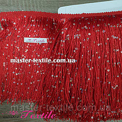 Бахрома с пайетками 20 см (красная)