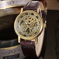 Winner gold коричневые с золотистым циферблатом мужские механические часы скелетон, фото 1
