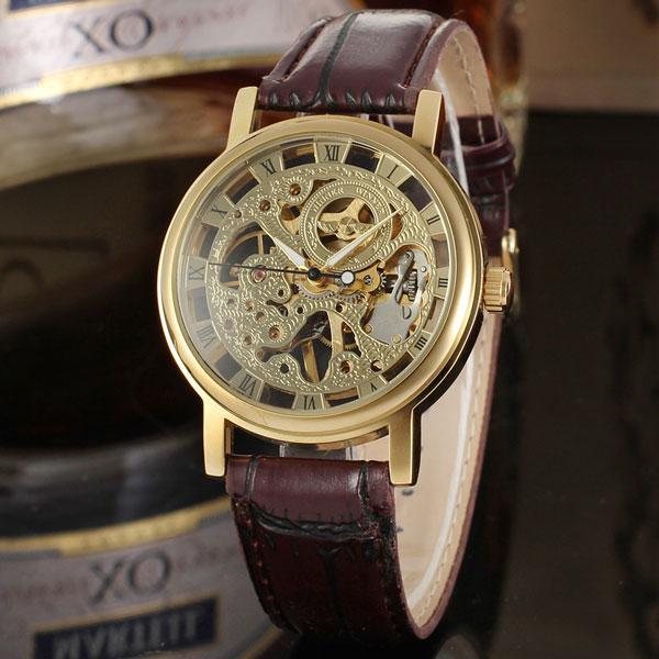 Winner gold коричневые с золотистым циферблатом мужские механические часы скелетон
