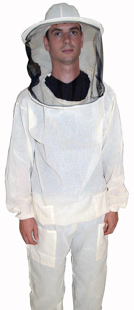 Куртка пчеловода белая бязевая с маской