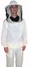 Куртка бджоляра біла бязева з маскою