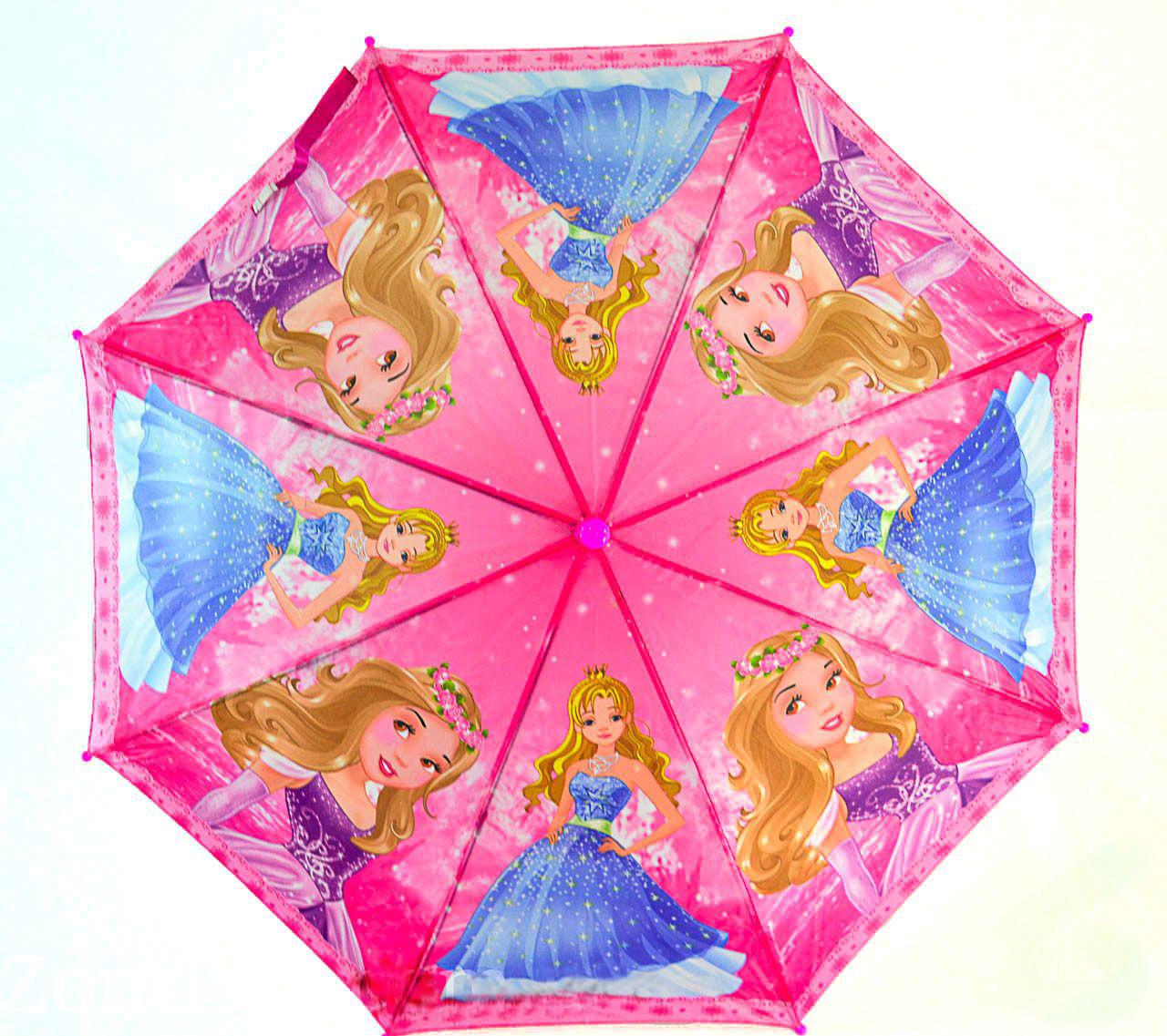 Зонт трость детский для девочек полуавтомат Mario рисунком «Принцесса» на 3-5 лет. Детский зонтик.