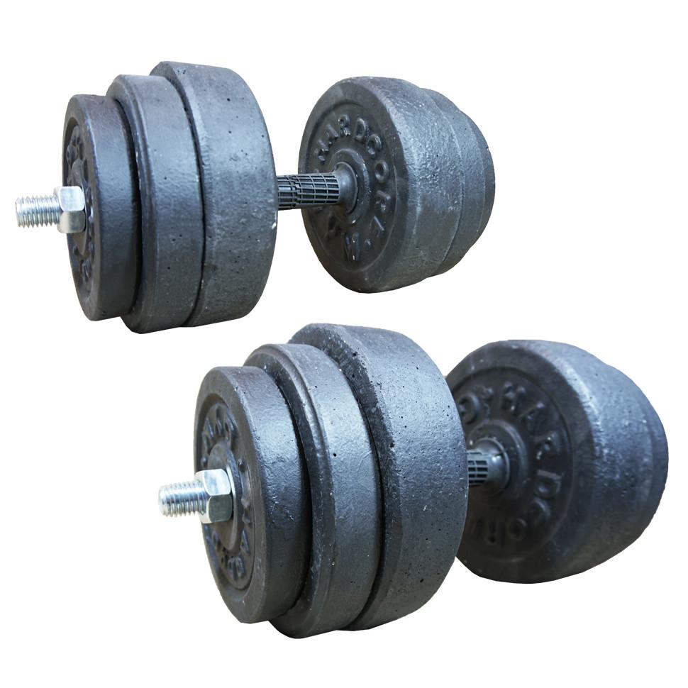 Гантели наборные гранилитовые 2х19 кг с резиновой ручкой (общий вес 38 кг) разборные для дома