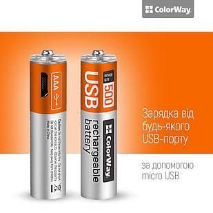 Аккумуляторная батарея AAА micro USB 400 мАЧ 1.5В (2шт) ColorWay