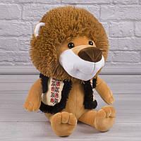 Мягкая игрушка лев Бася, плюшевый лев, лев в национальном стиле