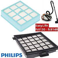 Комплект фильтров Philips fc8140, fc8142, fc8144, fc8146, fc8148 для пылесоса EasyLife с контейнером для пыли