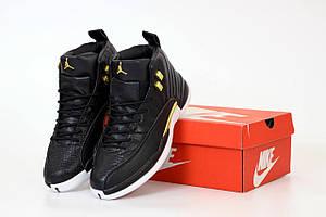 Баскетбольные кроссовки Найк Аир Джордан Ретро 12 черного цвета (Nike Air Jordan Retro 12 Black)