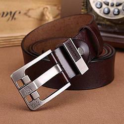 Стильный кожаный ремень Bolo Bekele (002) Коричневый, 110 см
