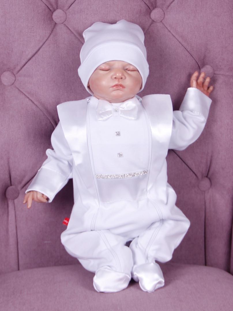 Нарядный комплект для новорожденного мальчика Фрак New белый
