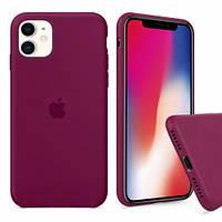 Силиконовый Чехол на iPhone 11 Silicone Case pine green rose red ( чехол айфон 11 )