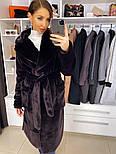 """М'яка жіноча модна шуба з ЕКО хутра """"шиншила"""" з поясом, фото 9"""