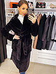 """М'яка жіноча модна шуба з ЕКО хутра """"шиншила"""" з поясом, фото 8"""