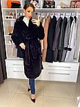 """М'яка жіноча модна шуба з ЕКО хутра """"шиншила"""" з поясом, фото 7"""