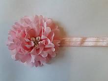 Светло-розовая детская повязка с цветком - окружность 40-50см, диаметр цветка 9см