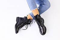 Демисезонные женские ботинки черного цвета из натуральной кожи