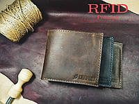 Кошелек, портмоне, бумажникиз кожи Crazy Horse + RFID! Ручная работа!