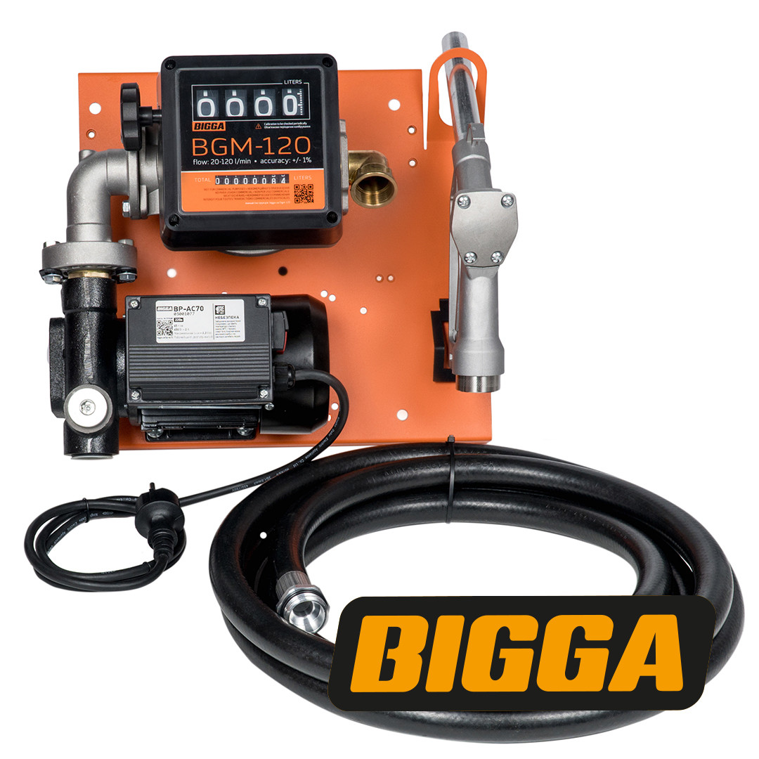 Bigga Beta AC-70 – стационарная мини колонка для заправки техники топливом. Питания 220 В. Расход 70 л/мин