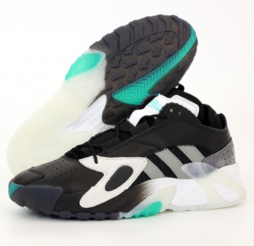 Мужские кроссовки Adidas Streetball Black Green черные с зеленым. Фото в живую. Реплика