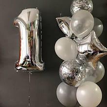 """Повітряна кулька срібло цифра 1, 40"""" (102 см) Flexmetal Іспанія 1426"""
