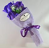 Подарочный букет молочно-белых роз ручной работы из мыла, фото 4