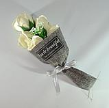 Подарочный букет молочно-белых роз ручной работы из мыла, фото 2